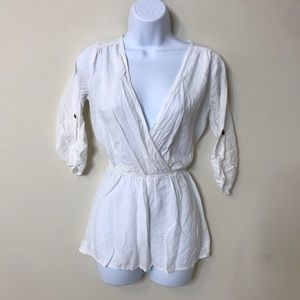 Windsor XS White Long Sleeve Romper Rayon